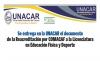 Se entrega en la UNACAR el documento de la Re acreditación por COMACAF a la Licenciatura en Educación Física y Deportes