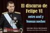 El discurso de Felipe VI entre azul y buenas noches